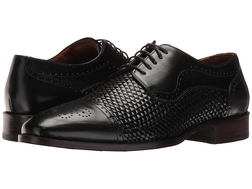 Johnston & Murphy - Nolen Woven Cap Toe (Black Italian Calfskin) Men's Lace Up Cap Toe Shoes