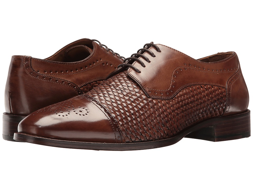 Johnston & Murphy - Nolen Woven Cap Toe (Mahogany Italian Calfskin) Men's Lace Up Cap Toe Shoes