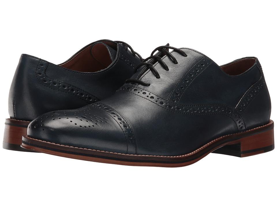 Johnston & Murphy - Conard Cap Toe (Navy Italian Calfskin) Men's Shoes