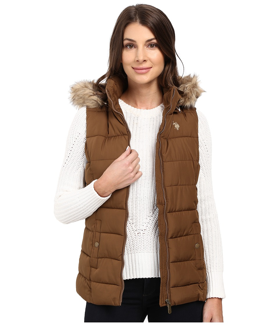 U.S. POLO ASSN. - Long Vest with Fur Hood (Light Olive/Brown) Women's Vest
