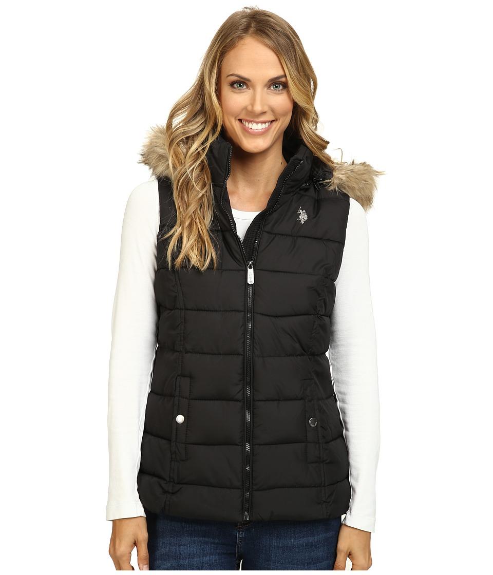 U.S. POLO ASSN. - Long Vest with Fur Hood (Black) Women's Vest