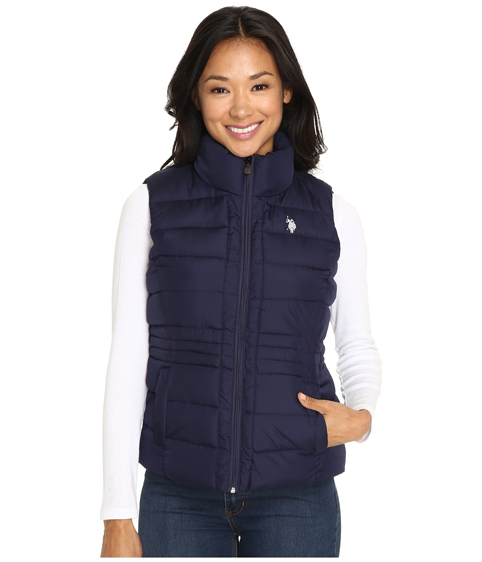 U.S. POLO ASSN. - Quilted Vest with Sherpa Lining (Evening Blue) Women's Vest