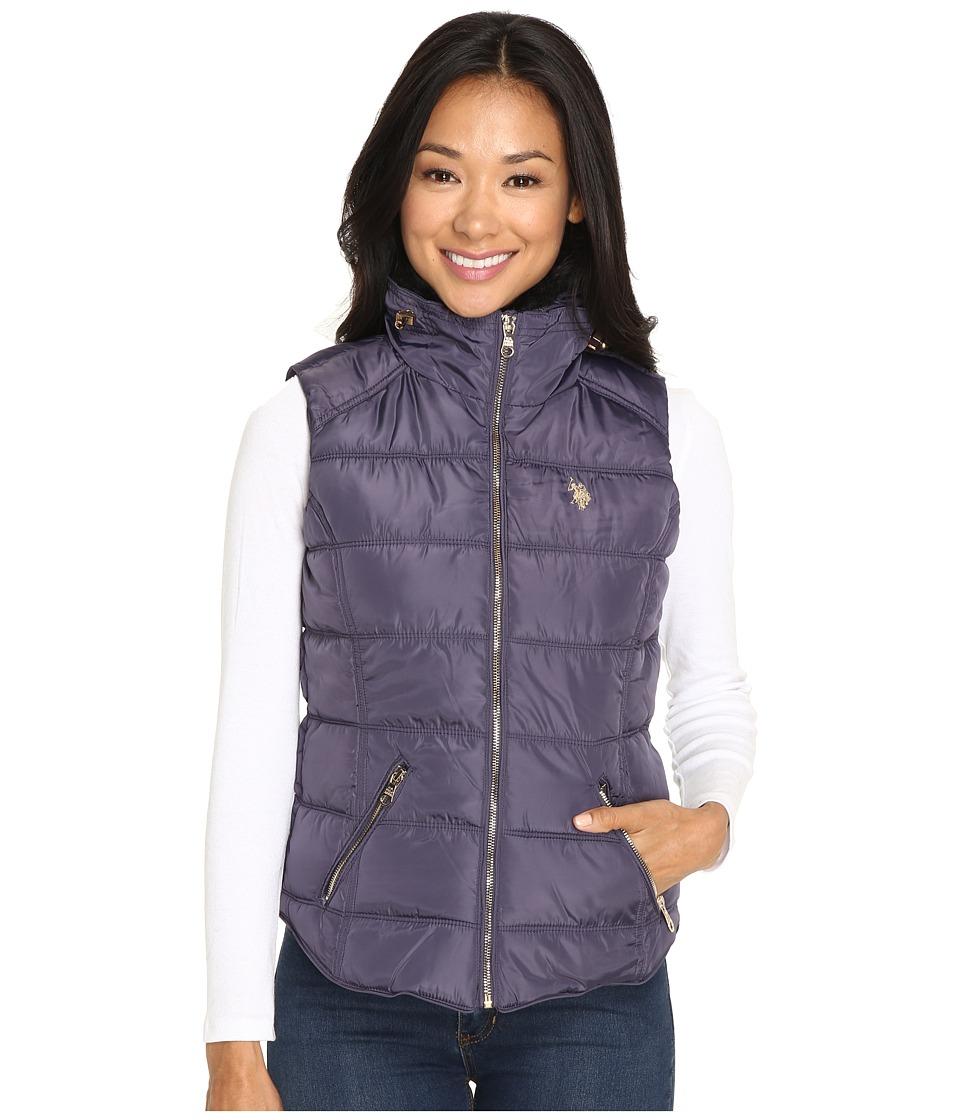 U.S. POLO ASSN. - Quilted Vest with Shirttail Hem (Iridescent Grape) Women's Vest