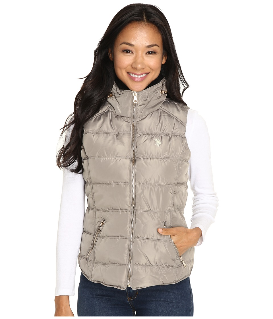U.S. POLO ASSN. - Quilted Vest with Shirttail Hem (Moonrock) Women's Vest