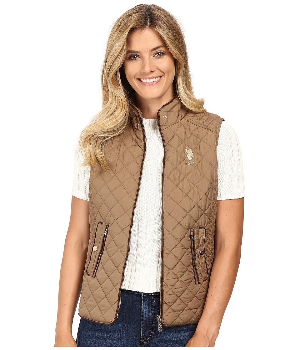 U.S. POLO ASSN. - Quilted Fashion Vest (Caramel) Women's Vest