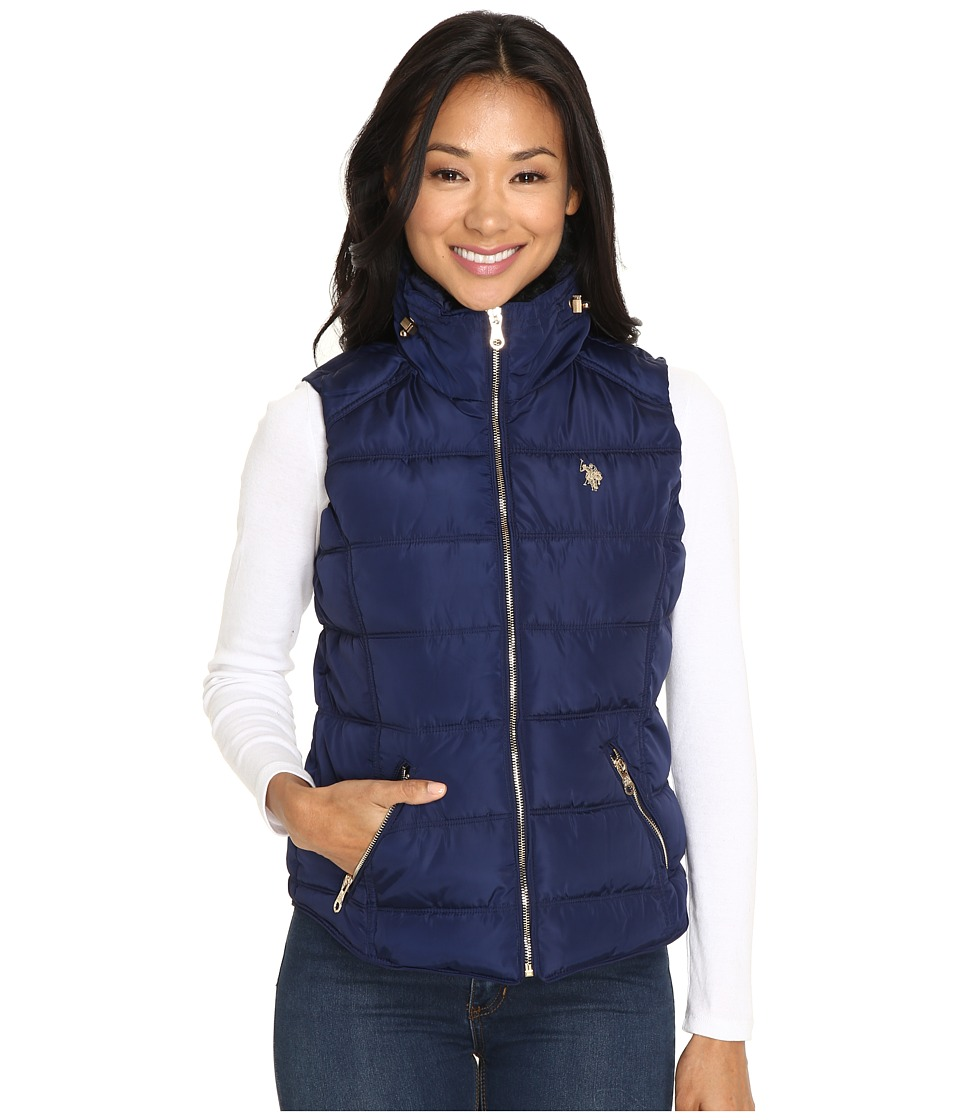 U.S. POLO ASSN. - Quilted Vest with Shirttail Hem (Evening Blue) Women's Vest