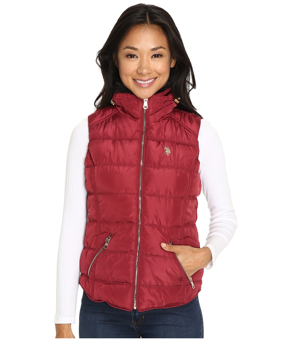 U.S. POLO ASSN. - Quilted Vest with Shirttail Hem (Rumba Red) Women's Vest