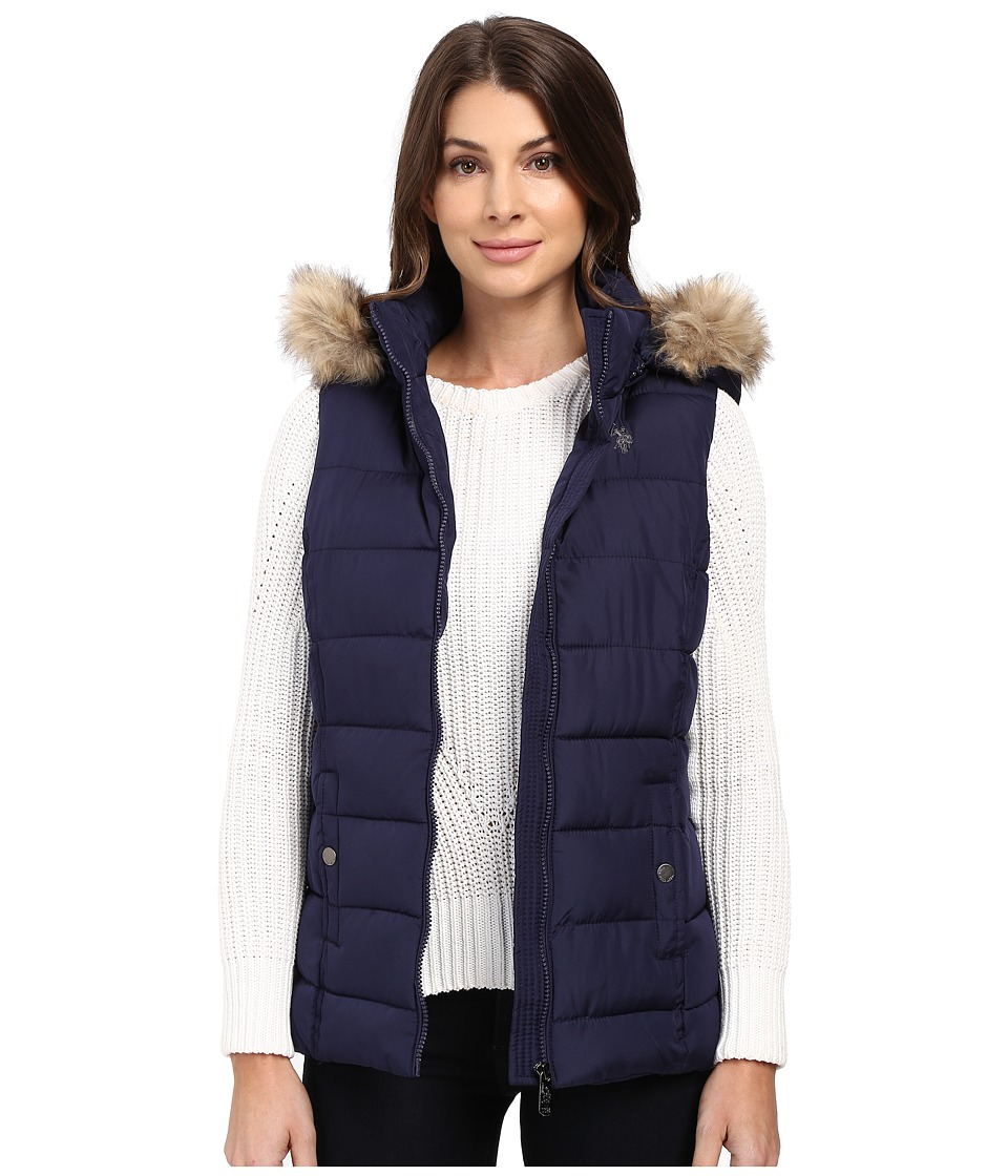 U.S. POLO ASSN. - Long Vest with Fur Hood (Evening Blue) Women's Vest