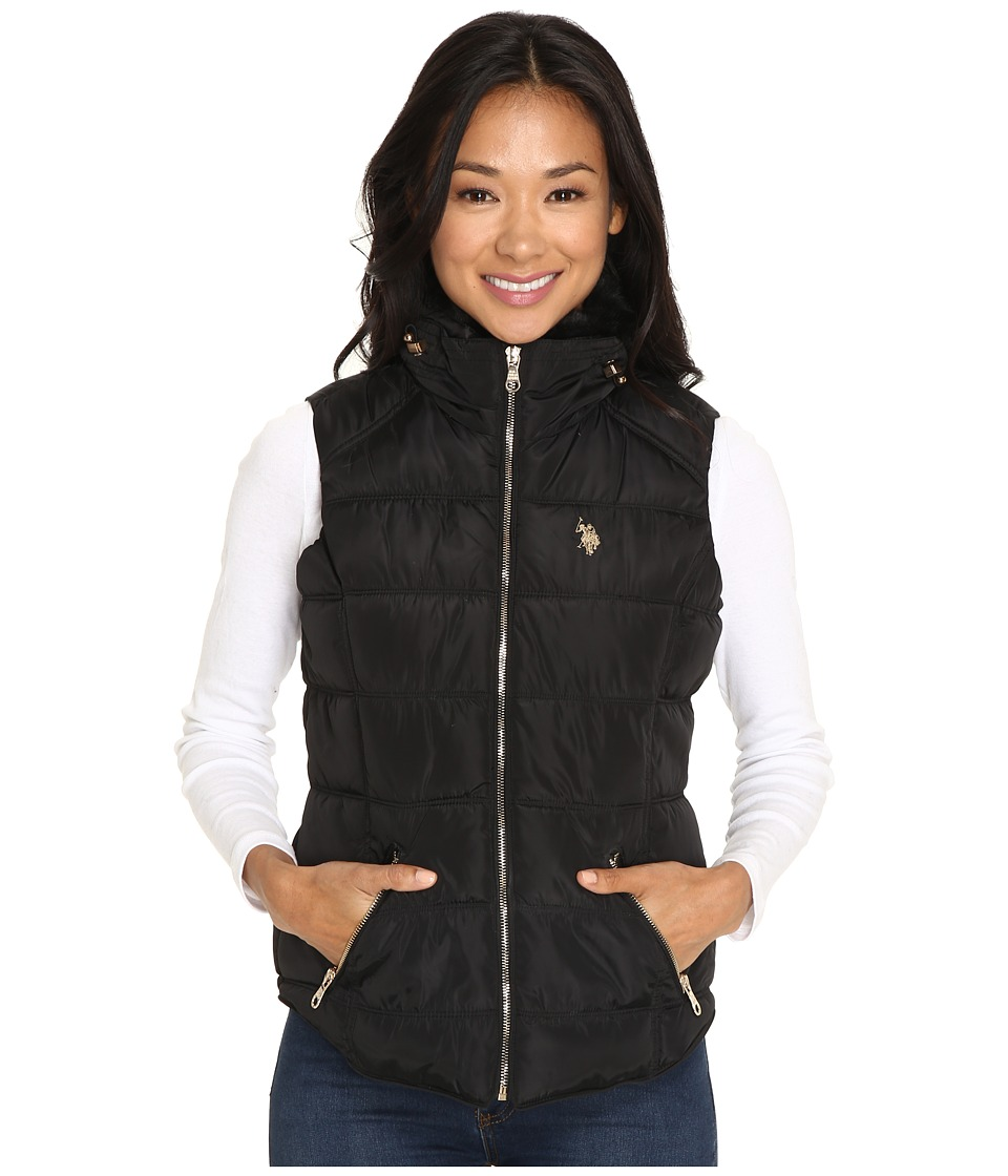 U.S. POLO ASSN. - Quilted Vest with Shirttail Hem (Black) Women's Vest