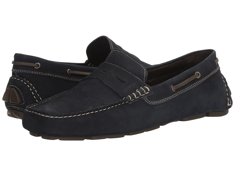 Johnston & Murphy - Gibson Perfed Penny Driver (Navy Nubuck) Men's Slip on Shoes