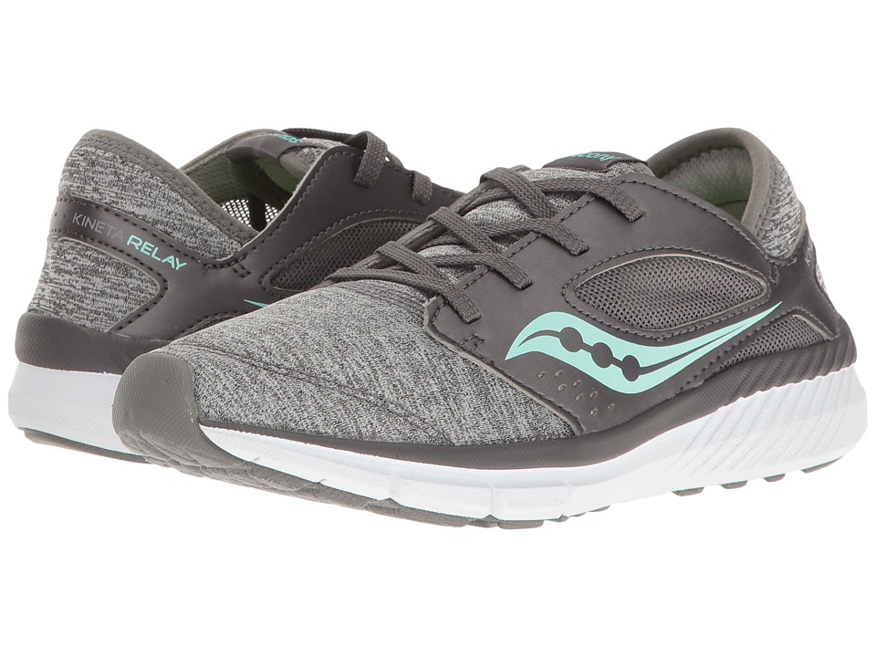 Saucony Kids Kineta Relay (Little Kid) (Grey Heather/Turquoise) Girls Shoes