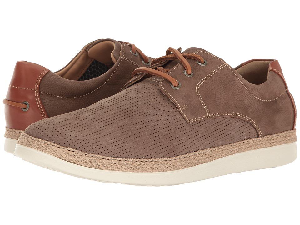 Johnston & Murphy - Bowling Perfed Plain Toe (Taupe Soft Tumbled Nubuck) Men's Slip on Shoes