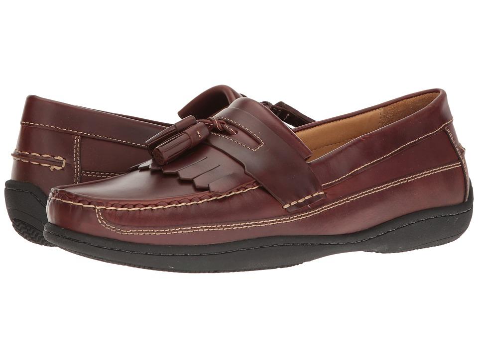 Johnston & Murphy - Fowler Kiltie Tassel (Mahogany Pull-Up) Men's Slip on Shoes