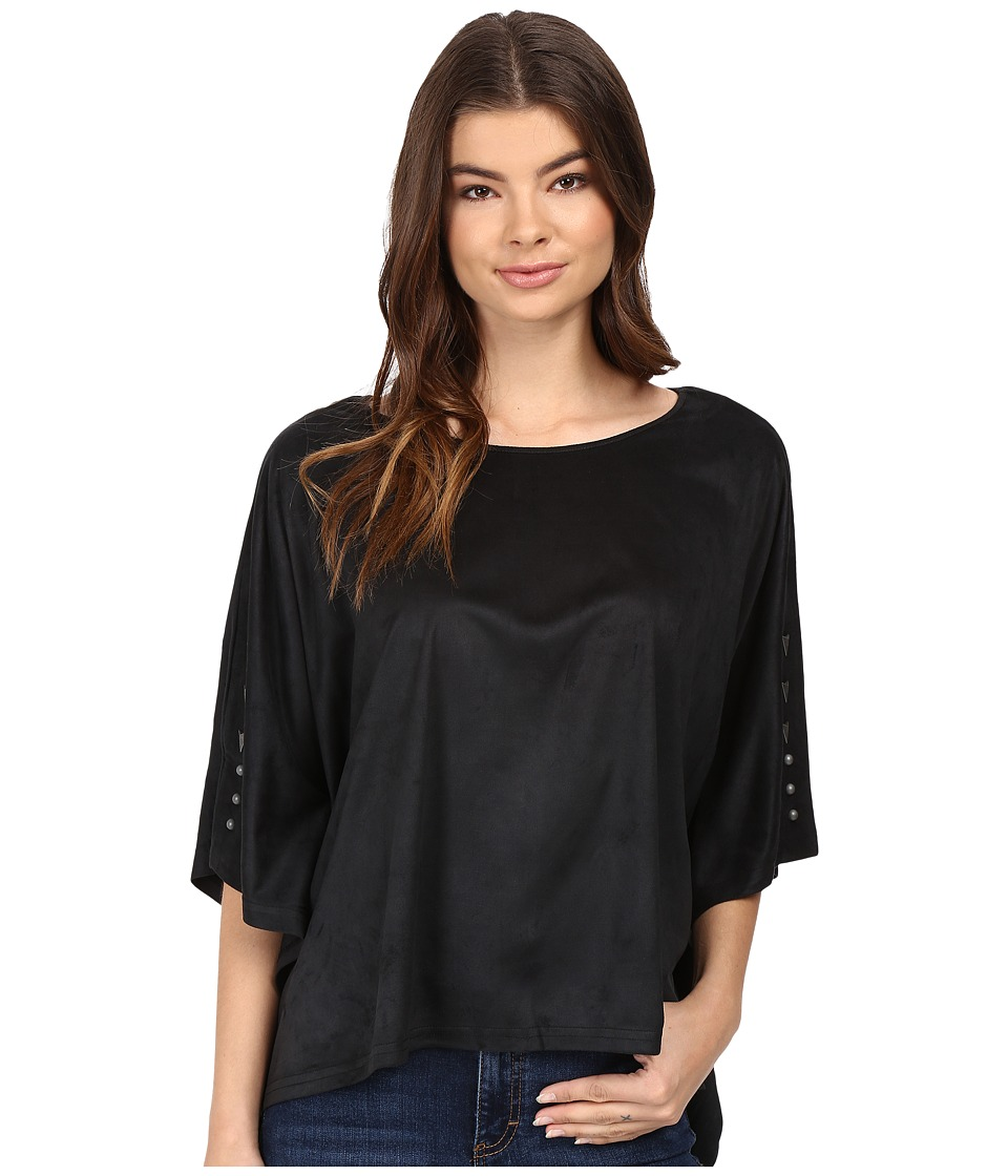 Cruel - Faux Suede Poncho (Black) Women's Clothing