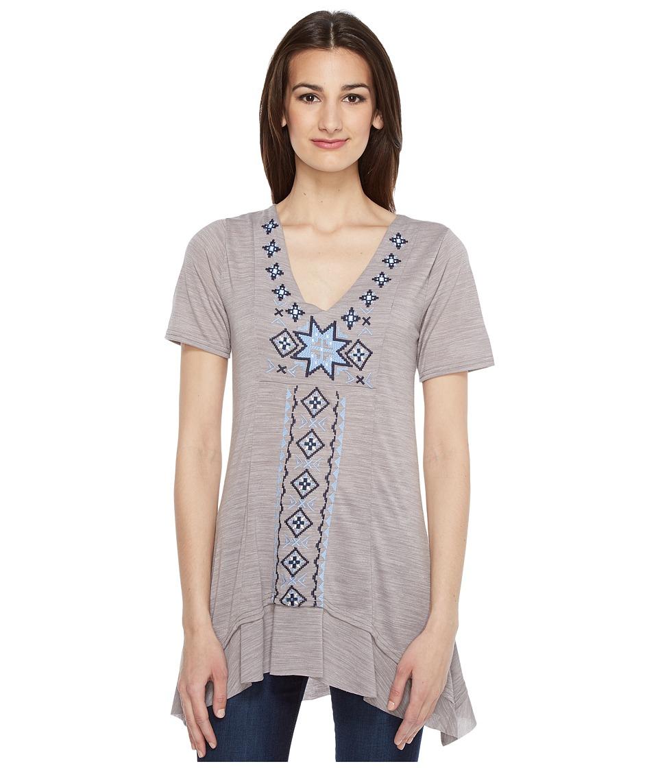 Roper - 0945 Short Sleeve Jersey Tunic (Grey) Women's Blouse