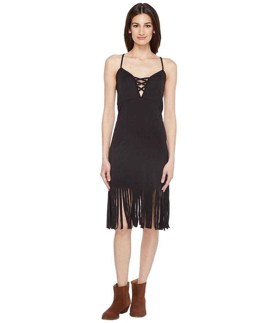 Roper 0943 Poly Spandex Fringed Tank Dress (Black) Women