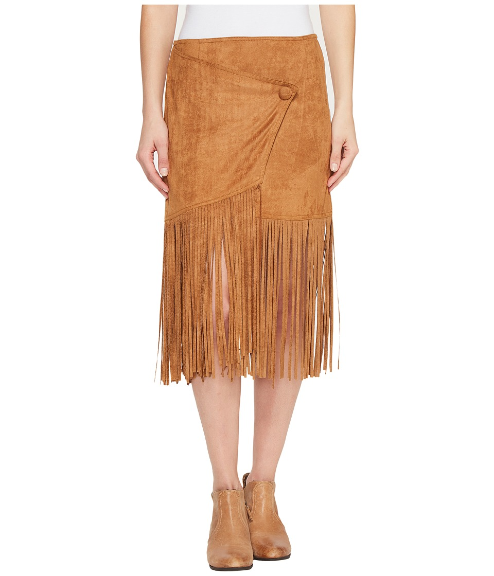 Stetson 0883 Faux Suede Asymmetrical Wrap Skirt (Brown) Women