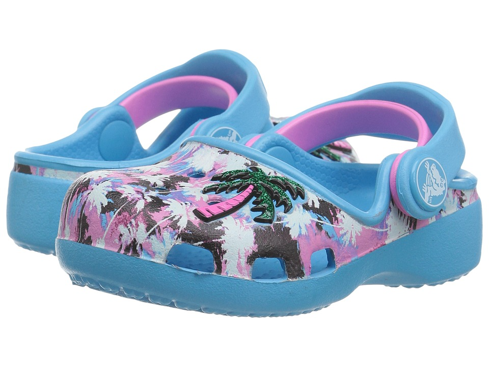 Crocs Kids - Karin Novelty Clog (Toddler/Little Kid) (Electric Blue/Party Pink) Girls Shoes