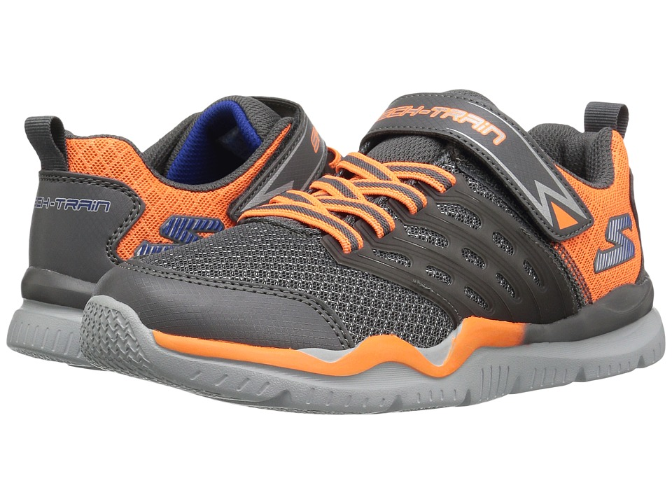 SKECHERS KIDS - Skech Train 97530L (Little Kid/Big Kid) (Charcoal/Orange) Boy's Shoes