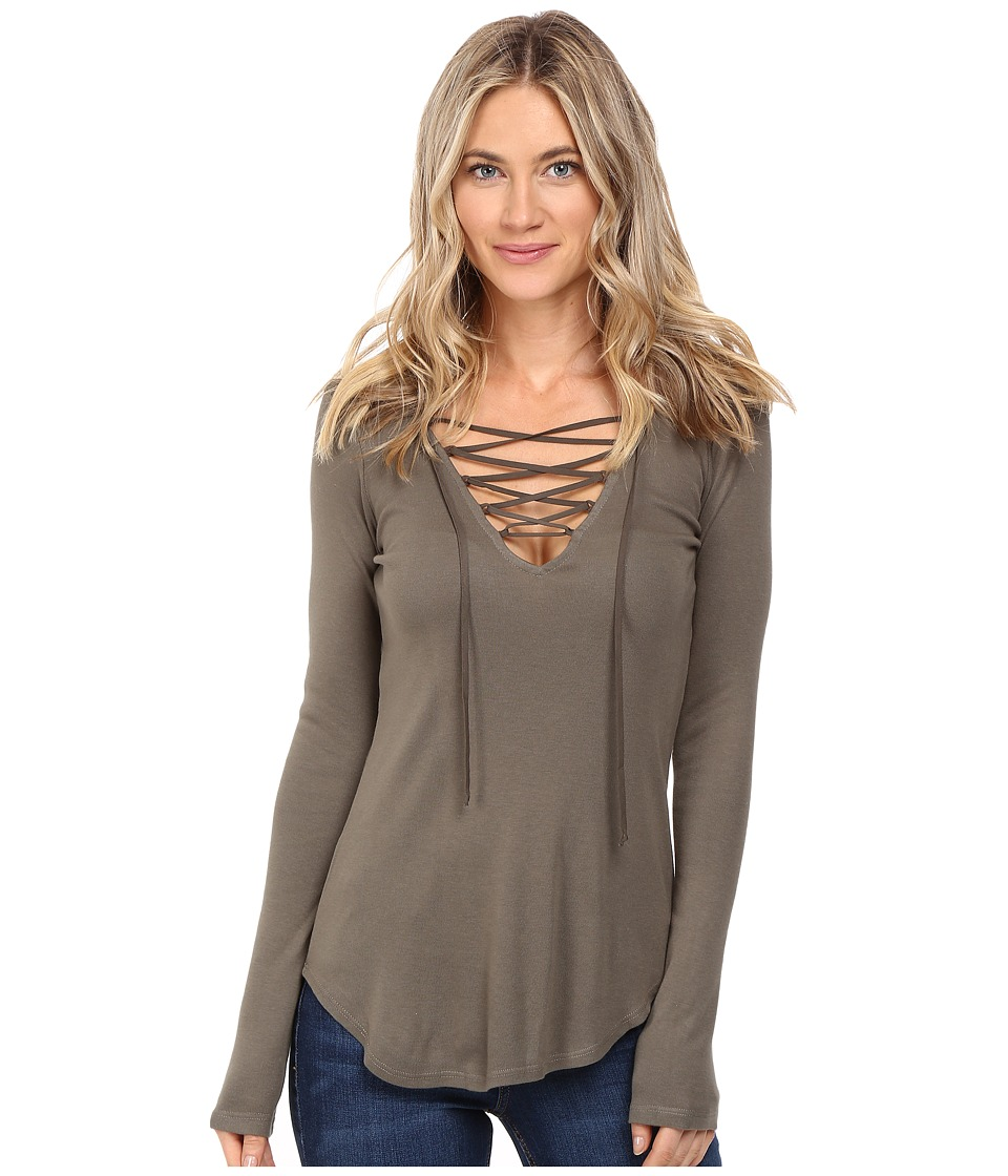 Splendid - Long Sleeve Lace-Up Top (Military Olive) Women's Clothing