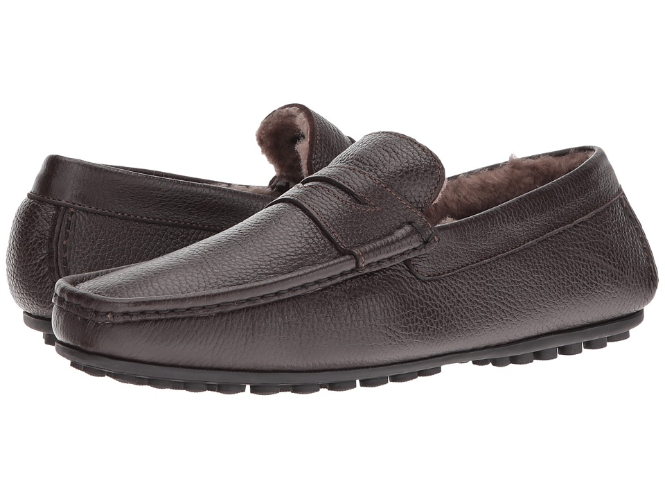 Massimo Matteo - Freddo Geunine Lamb Lined Driver (Brown) Men's Slip on Shoes