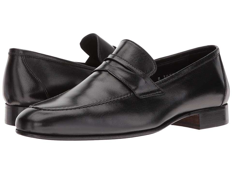 Massimo Matteo - Nappa Penny (Black) Men's Slip on Shoes