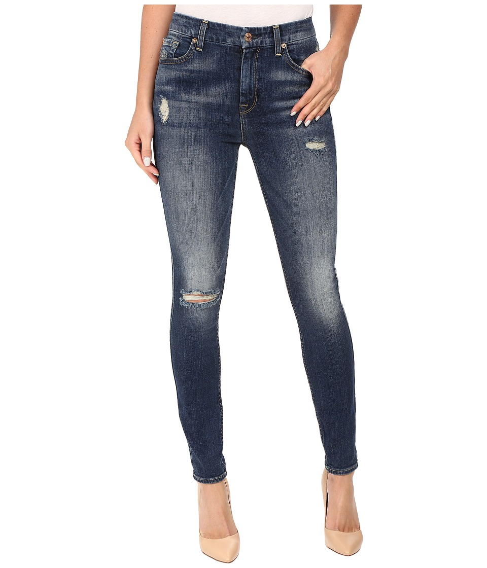 7 For All Mankind - The High Waist Skinny w/ Destroy in Vintage Kensington (Vintage Kensington) Women's Jeans