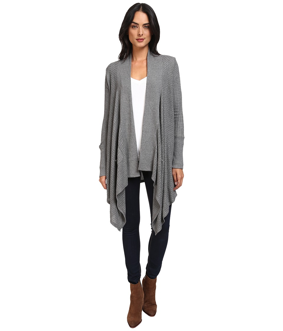 Splendid - Waffle Loose Knit Cardigan Wrap (Dark Heather Grey) Women's Sweater