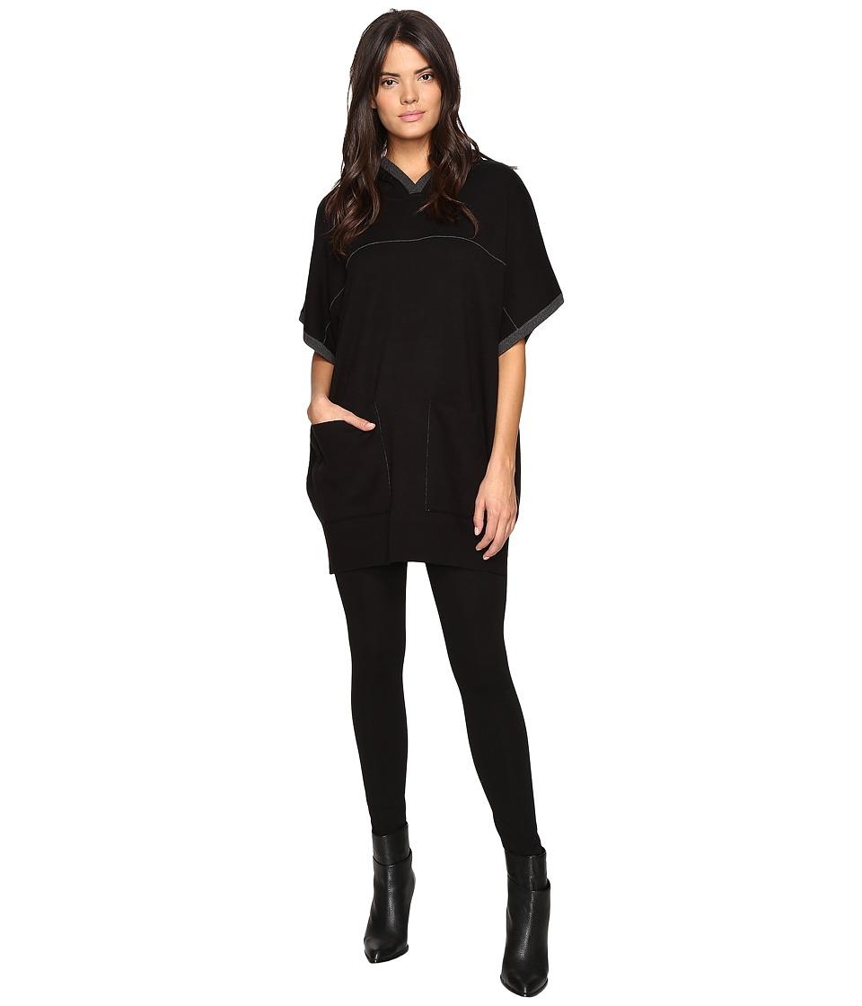 Splendid - Palmer Sweater Hooded Poncho (Black/Charcoal) Women's Sweater
