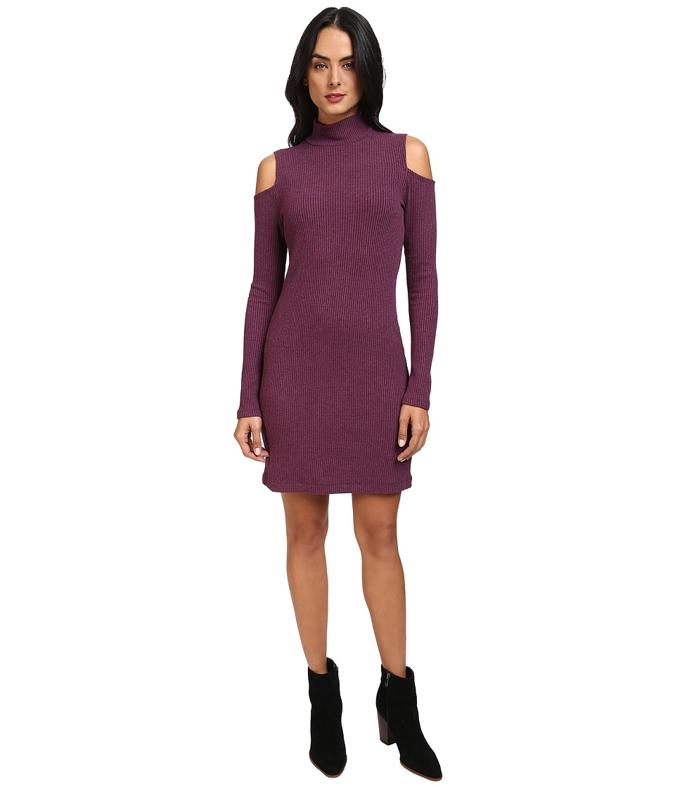 Splendid - Waffle Knit Cold Shoulder Dress (Heather Violet) Women's Dress