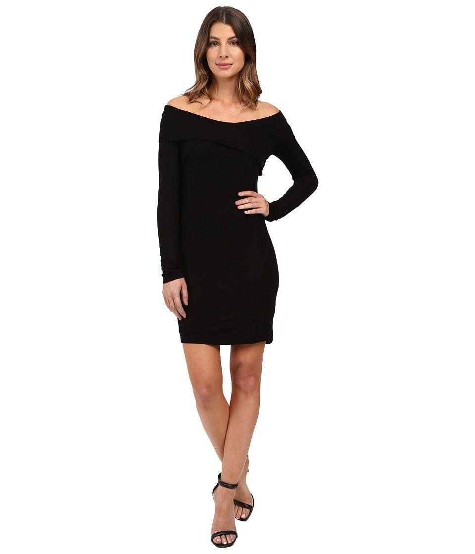 Splendid - 2x1 Rib Dress Off the Shoulder (Black) Women's Dress