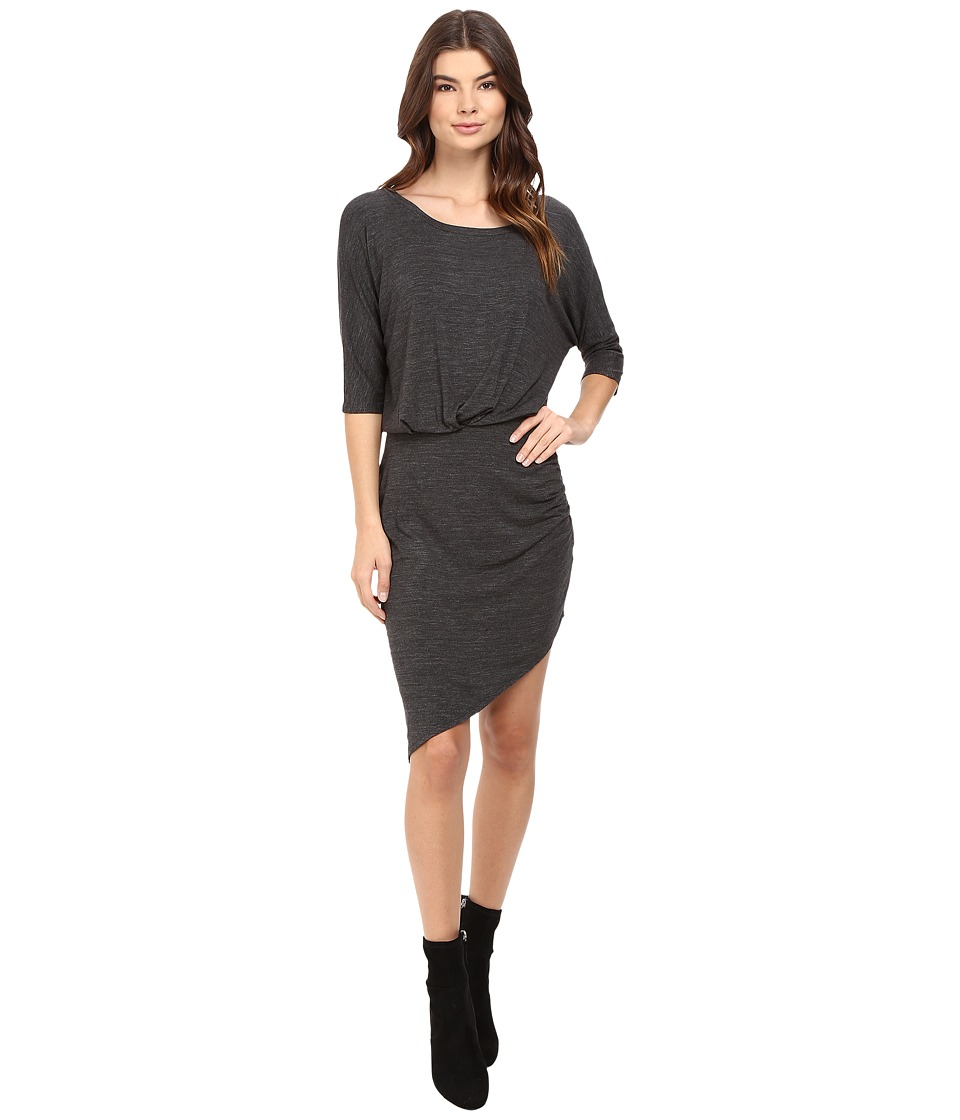 Splendid Heathered Slub Jersey Asymmetrical Hem Dress (Heather Charcoal) Women