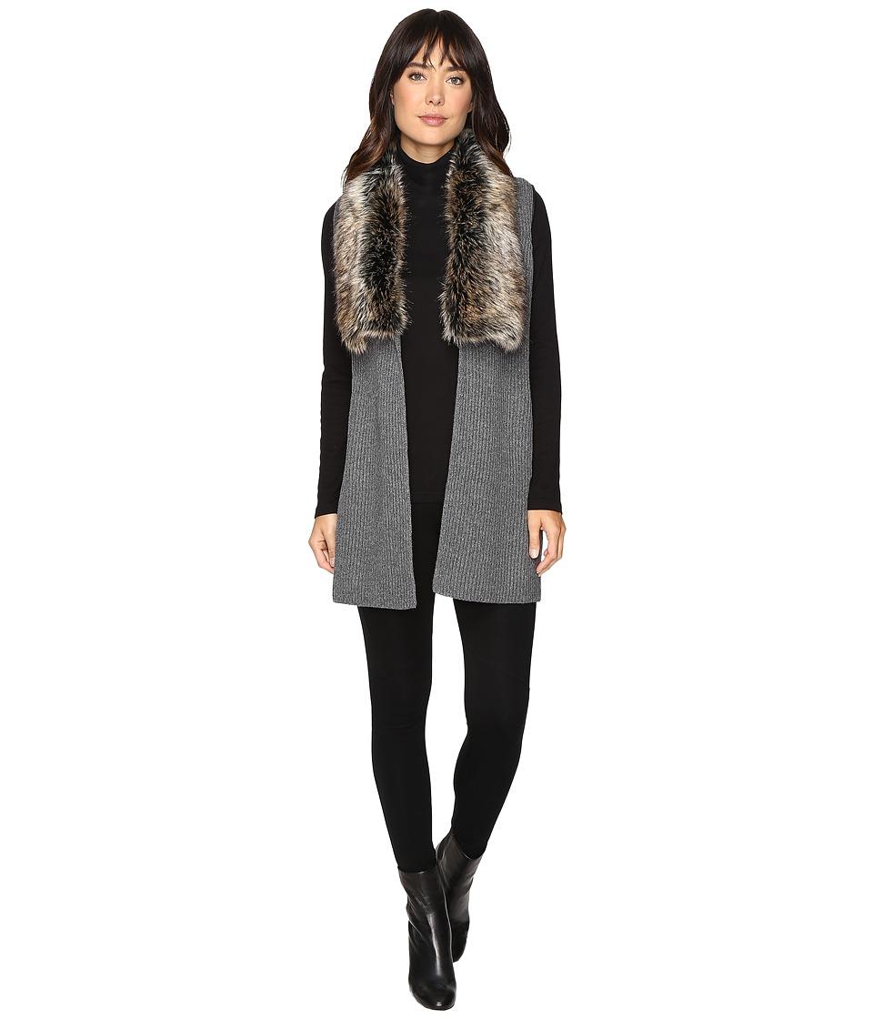 Splendid - Vail Faux Fur Collar Vest (Heather Coal/Black) Women's Vest