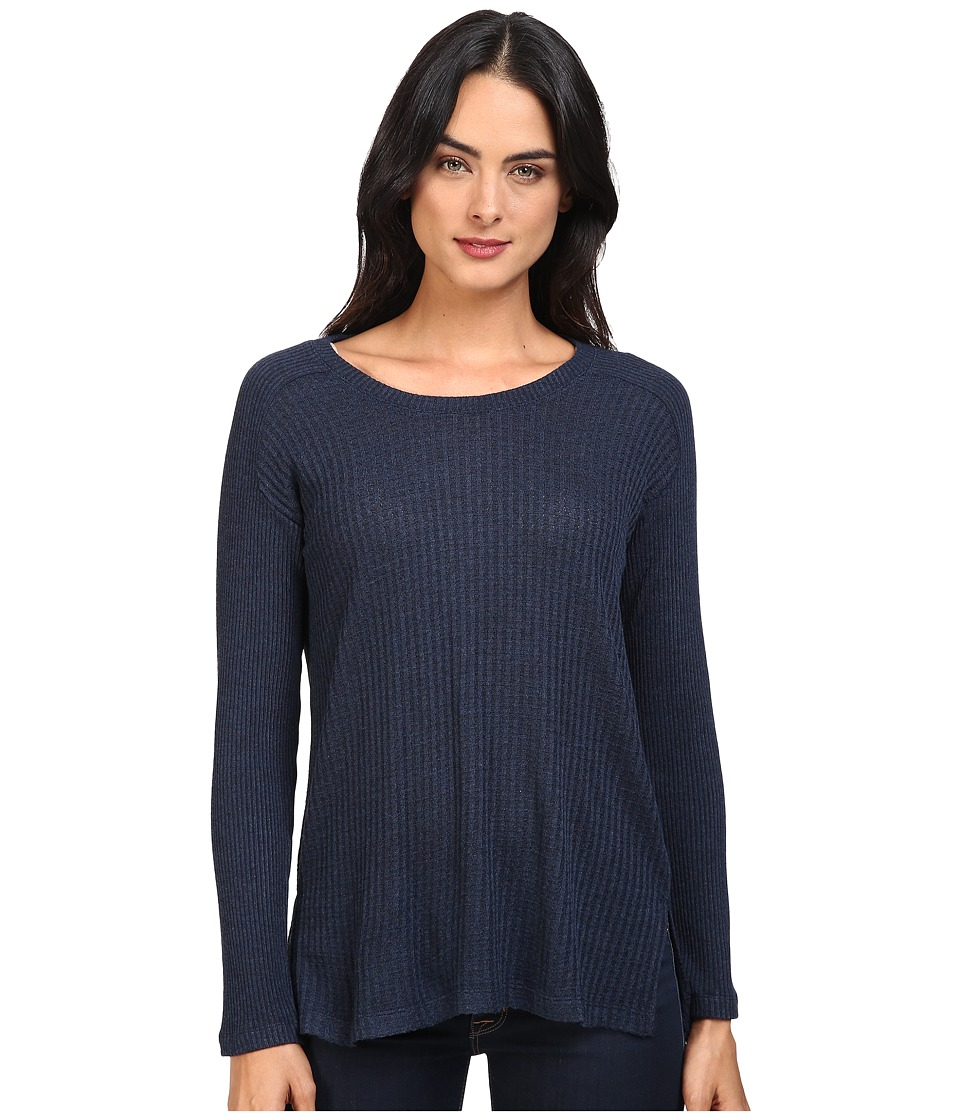 Splendid - Waffle Loose Knit Pullover (Heather Navy) Women's Clothing
