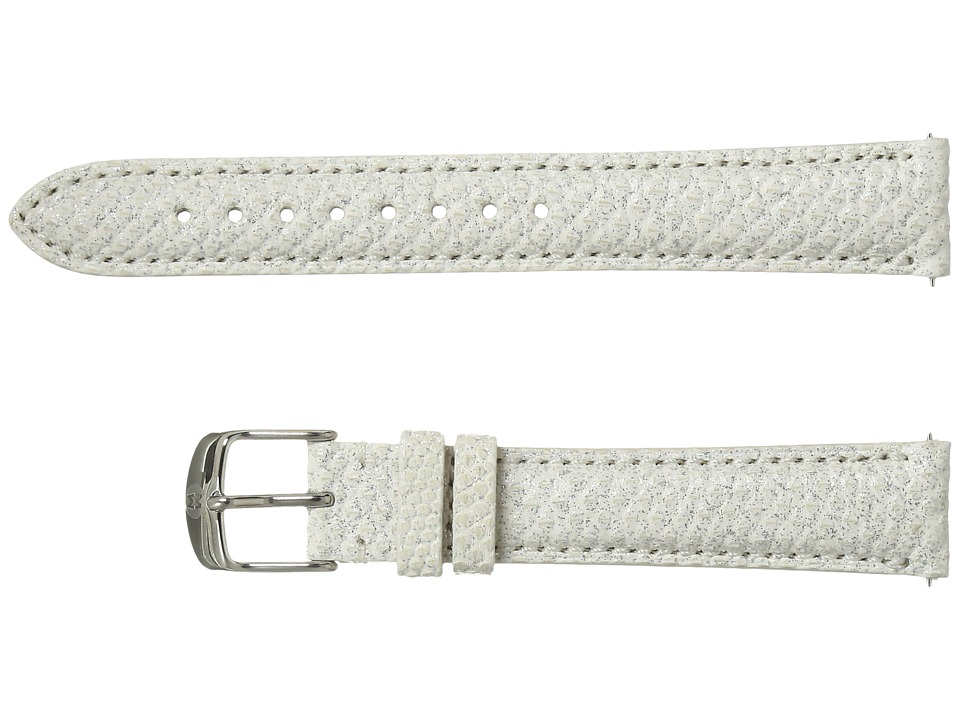 Michele - 16mm Snowflake White Snakeskin Strap (White) Watches