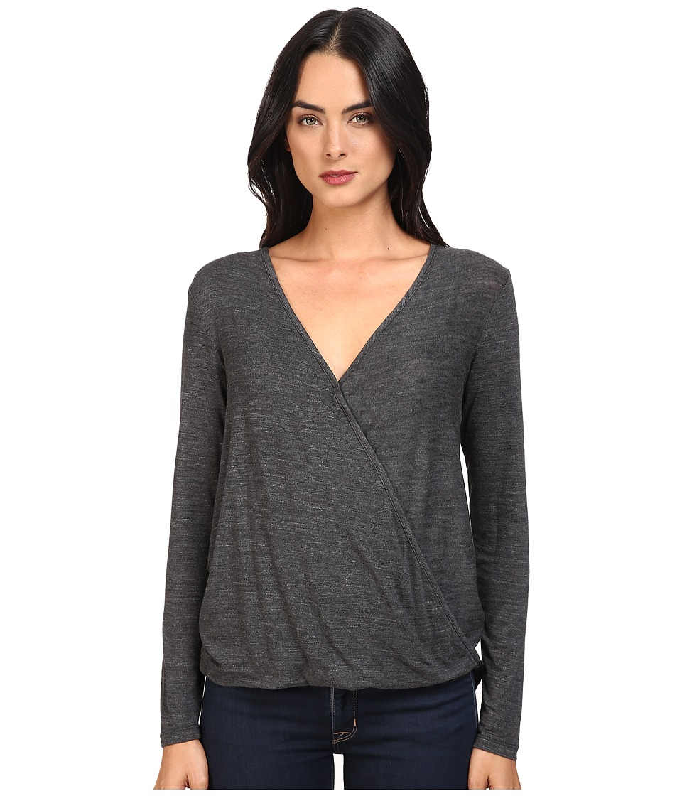 Splendid - Heathered Slub Jersey Surplice Top (Heather Charcoal) Women's Clothing