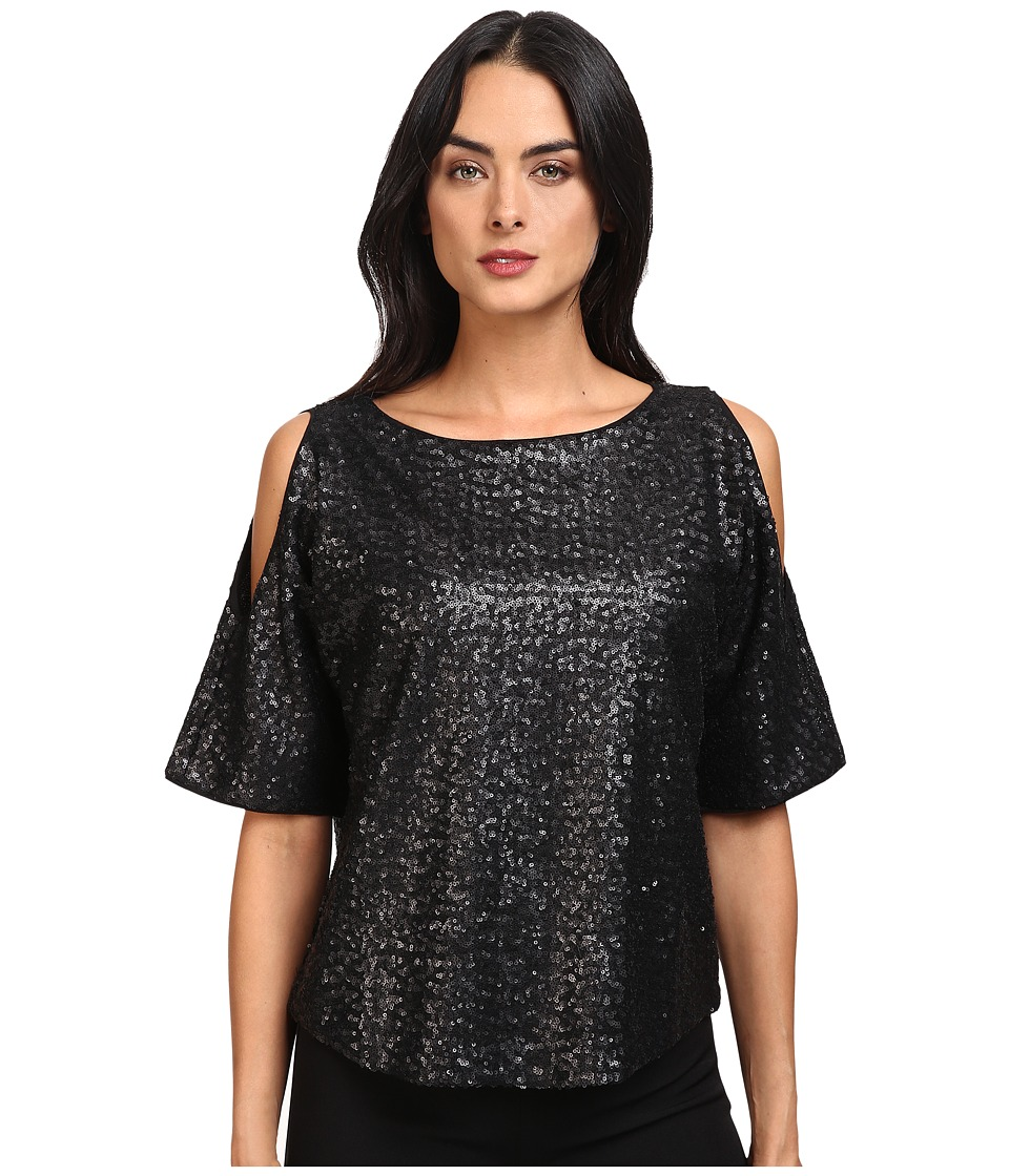 Splendid - Sequins Cold Shoulder Top (Black) Women's Clothing