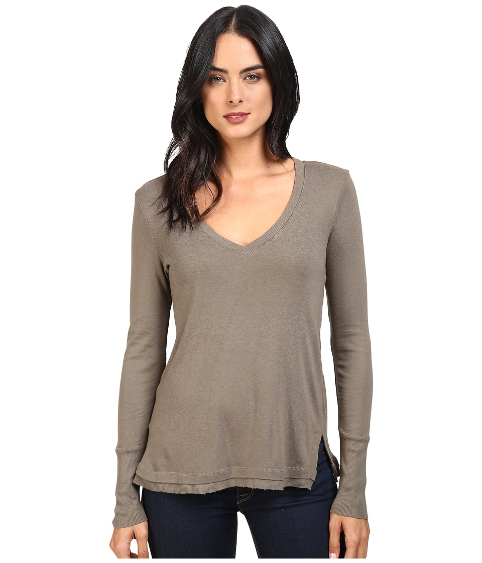 Splendid - 1x1 Long Sleeve V-Neck Top (Military Olive) Women's Clothing