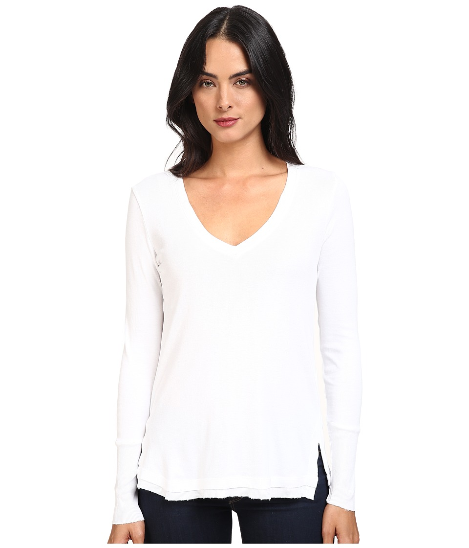 Splendid - 1x1 Long Sleeve V-Neck Top (White) Women's Clothing