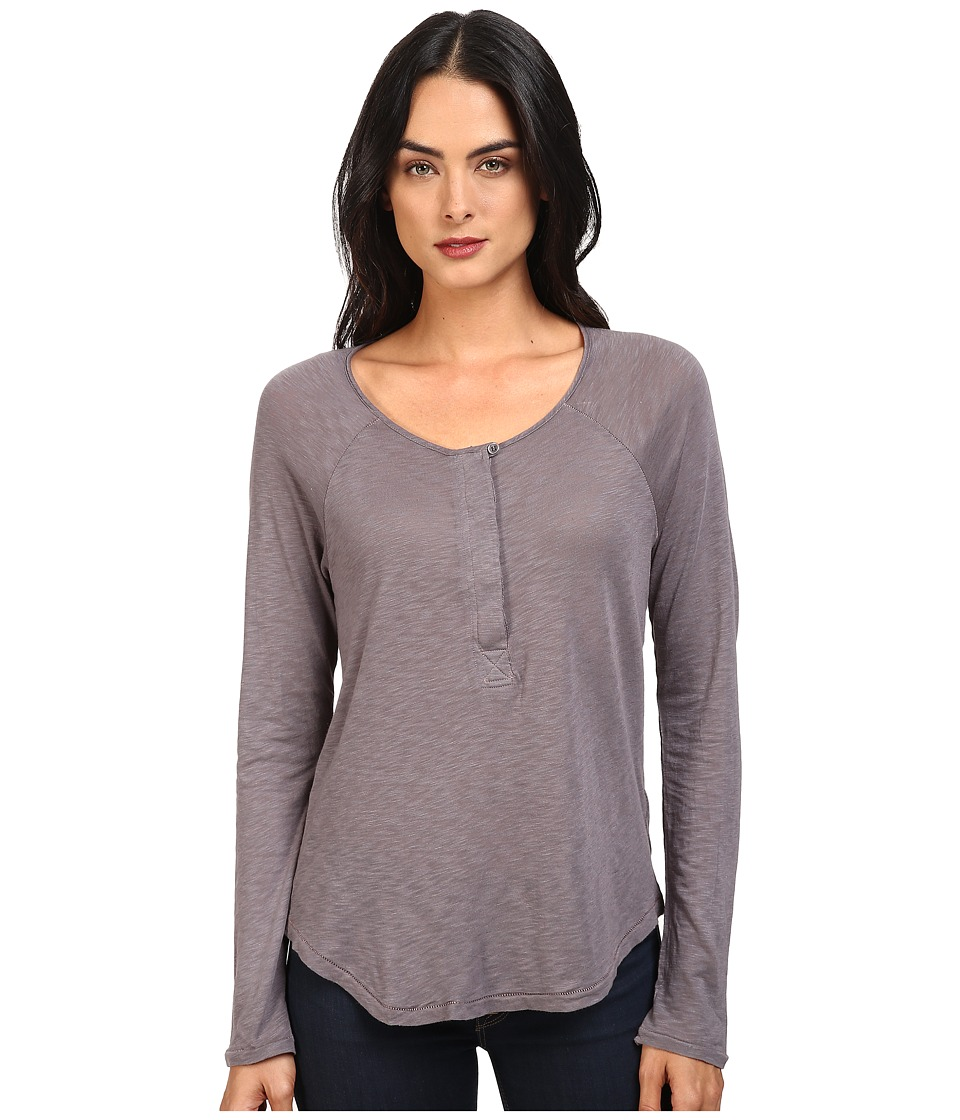 Splendid - Slub Tees Long Sleeve Henley (Asphalt) Women's Clothing