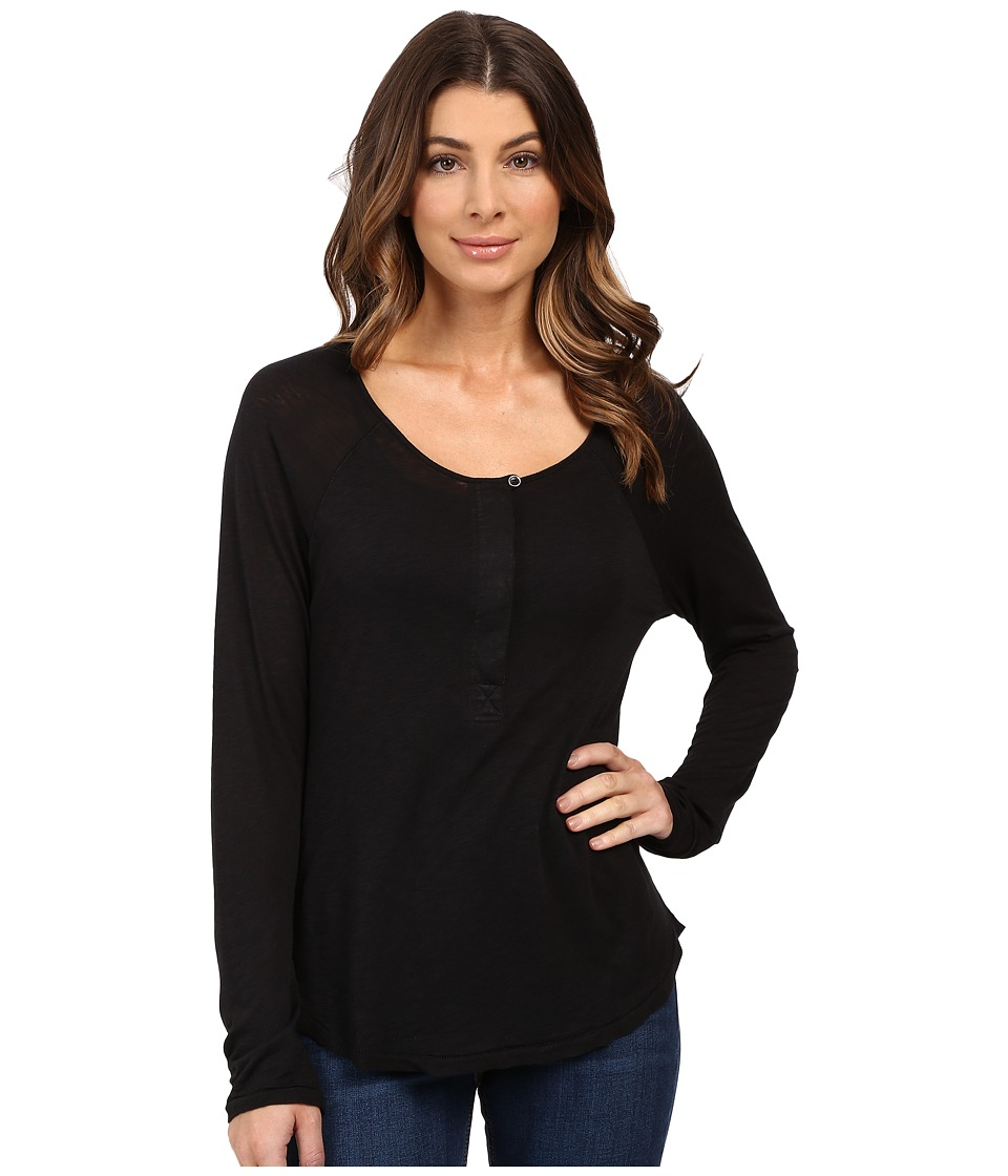 Splendid - Slub Tees Long Sleeve Henley (Black) Women's Clothing