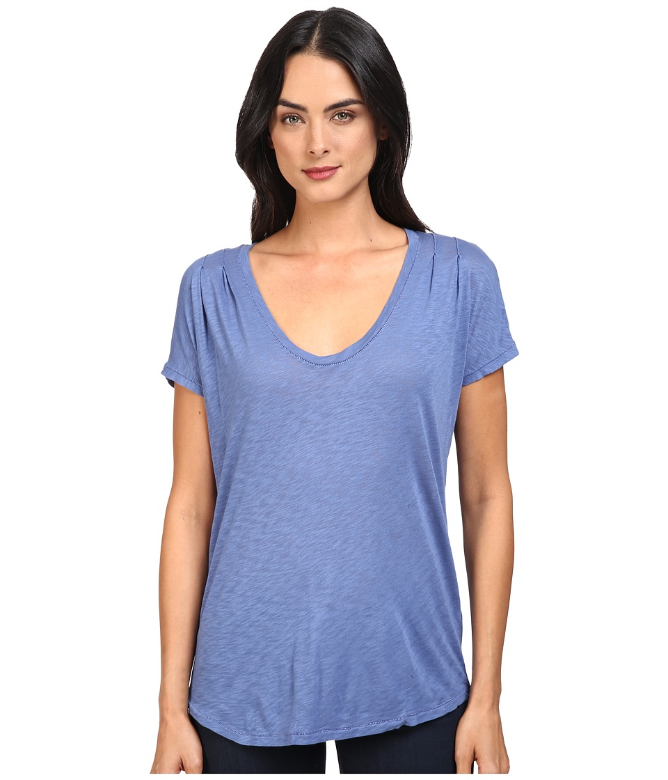 Splendid - Slub Tees Pleat Shoulder Top (Riviera Blue) Women's Clothing