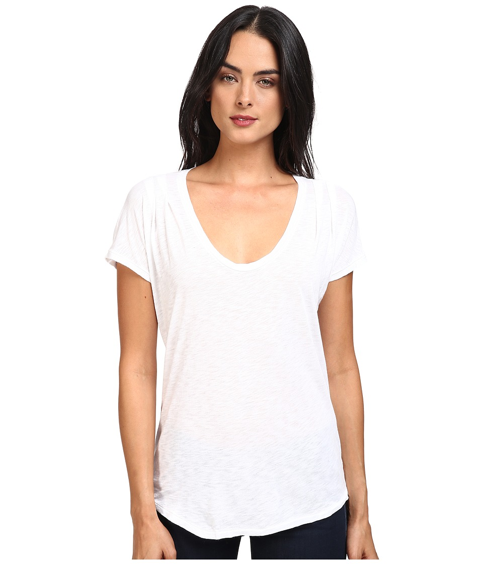 Splendid - Slub Tees Pleat Shoulder Top (White) Women's Clothing