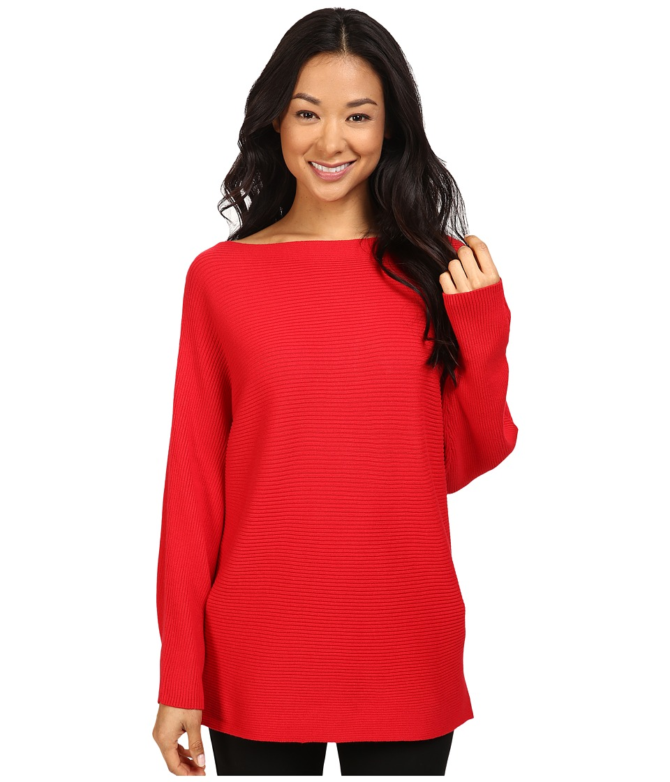 Vince Camuto - Long Sleeve Boat Neck Ribbed Dolman Sweater (Fire Glow) Women's Sweater