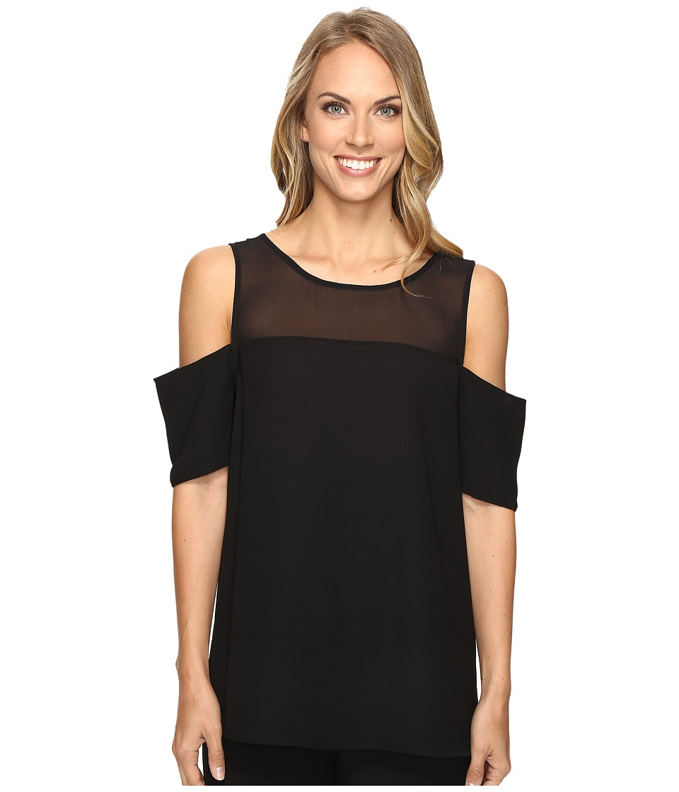 Vince Camuto - Short Sleeve Cold-Shoulder Blouse with Chiffon Yoke (Rich Black) Women's Blouse