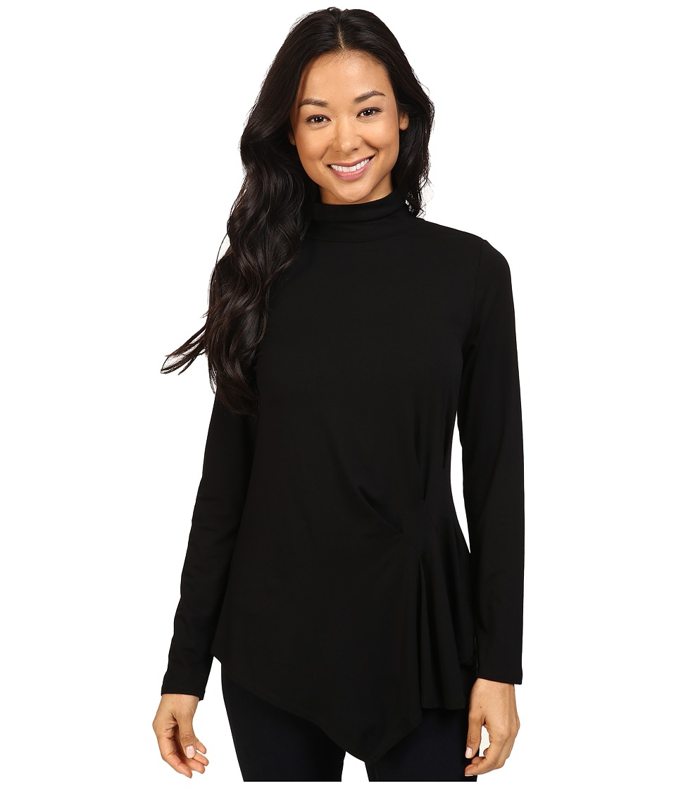 Vince Camuto - Long Sleeve Turtleneck Side Ruched Top (Rich Black) Women's Blouse