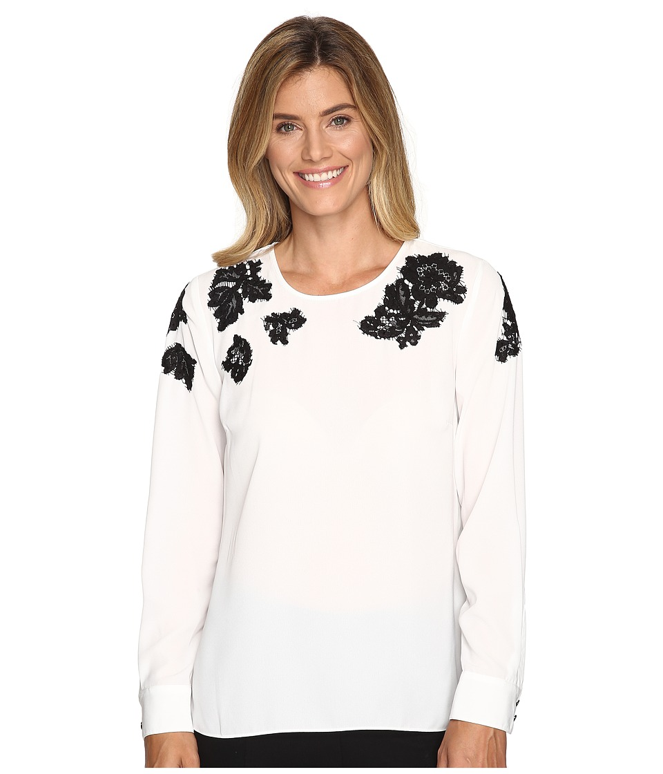 Vince Camuto - Long Sleeve Blouse with Sequin Lace Applique (New Ivory) Women's Blouse