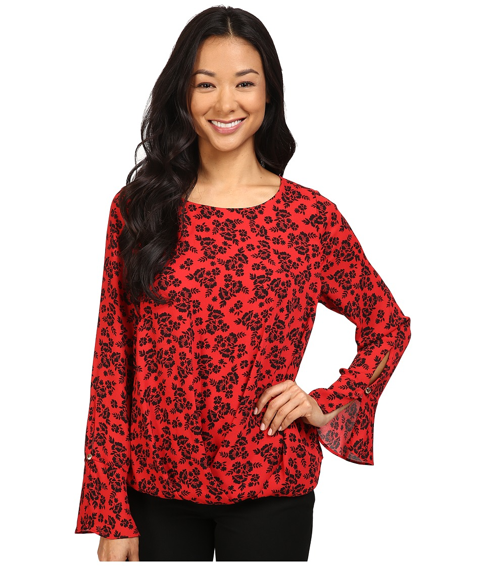 Vince Camuto - Long Sleeve Bouquet Stamp Fold-Over Blouse (Fire Glow) Women's Blouse