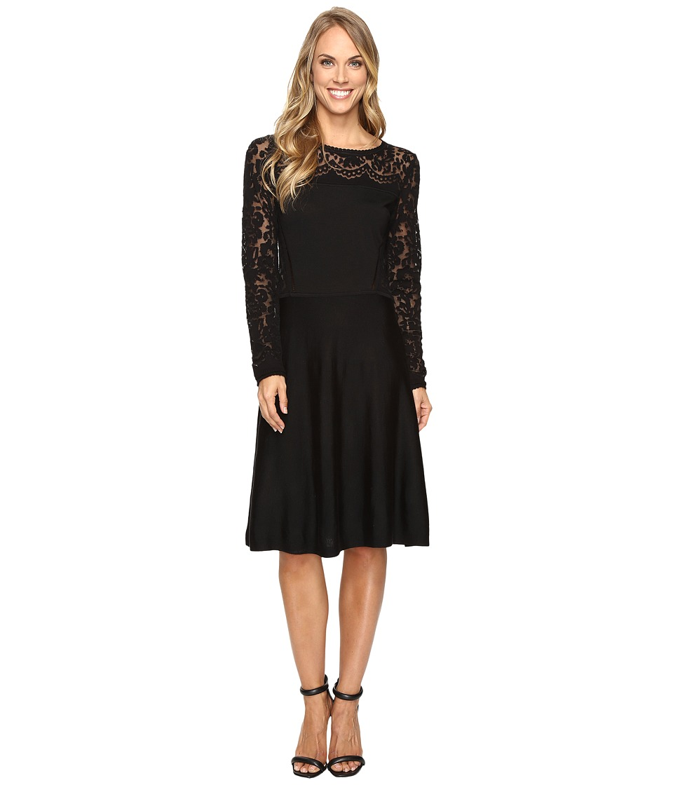 Vince Camuto - Long Sleeve Burnout Flare Sweater Dress (Rich Black) Women's Dress