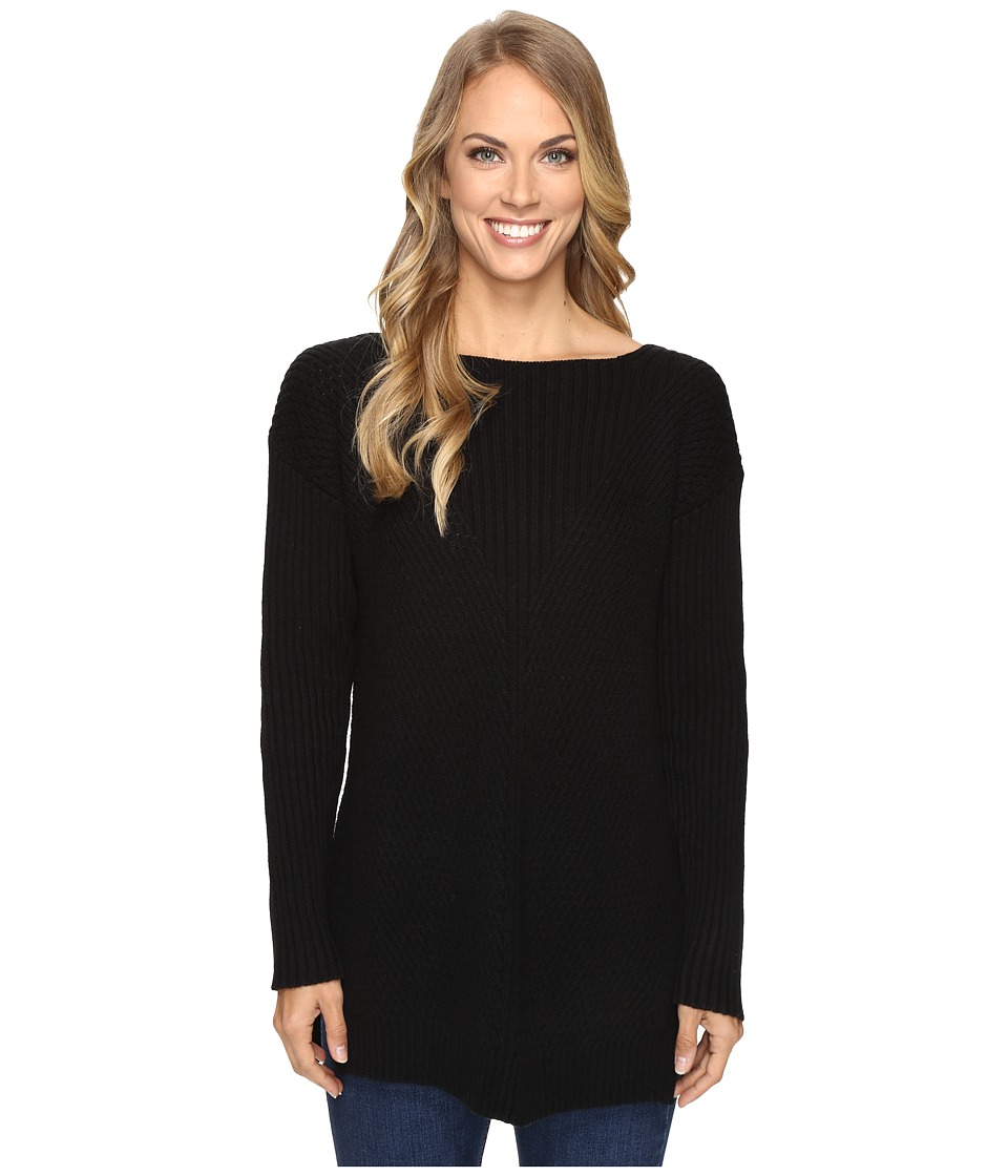 Vince Camuto - Long Sleeve Ribbed V Textured Sweater (Rich Black) Women's Sweater